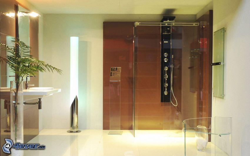 kúpeľňa, sprchový kút, umývadlo, lampa