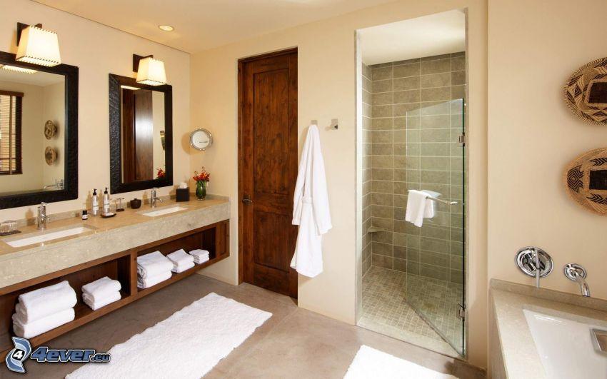kúpeľňa, umývadlá, sprcha, zrkadlá, dvere