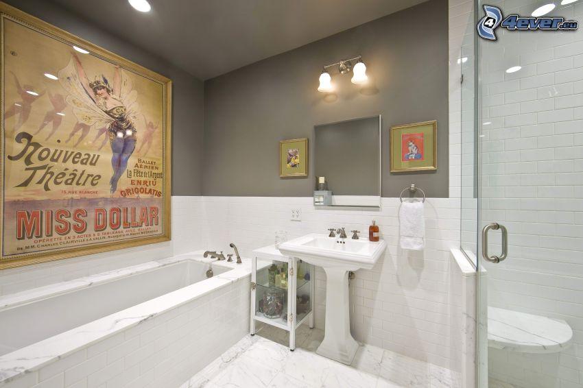 kúpeľňa, umývadlo, vaňa, obraz