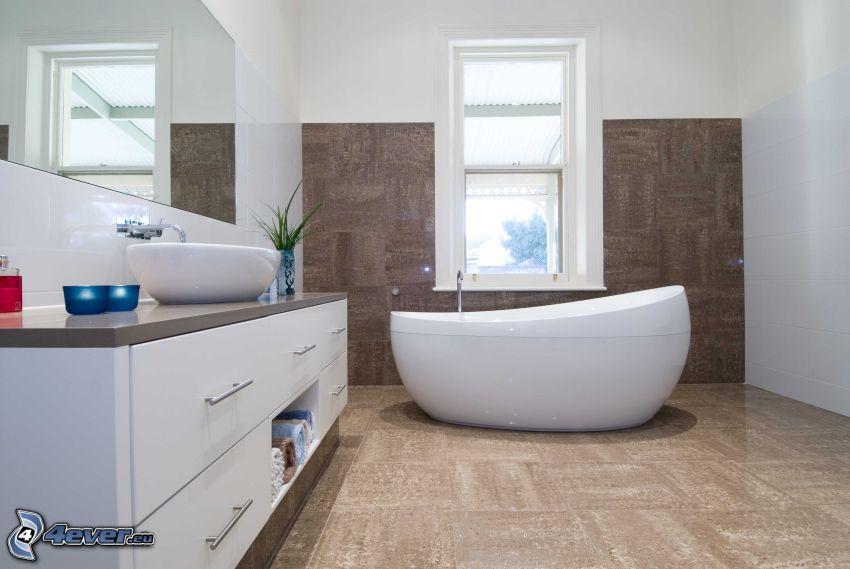 kúpeľňa, vaňa, okno, zrkadlo, umývadlo