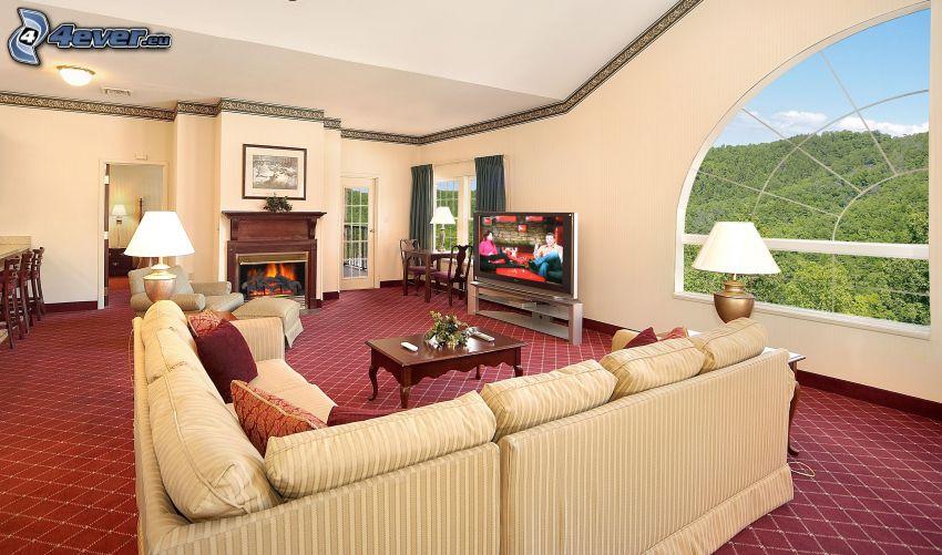 luxusná obývačka, gauč, výhľad
