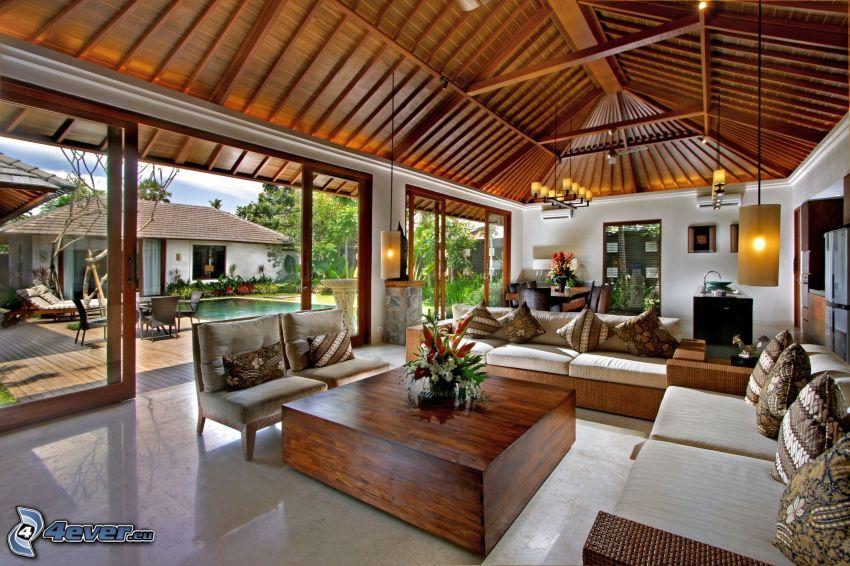 luxusná obývačka, HDR