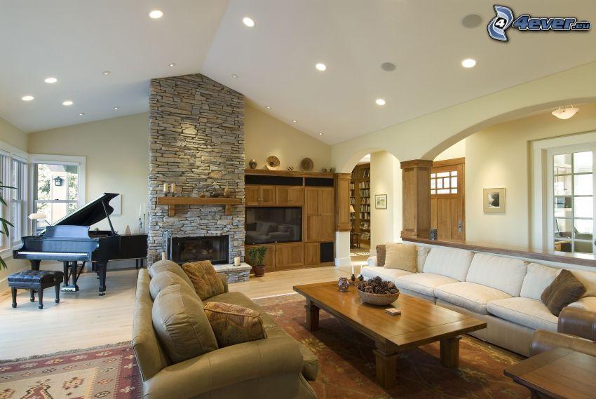 luxusná obývačka, klavír, kozub