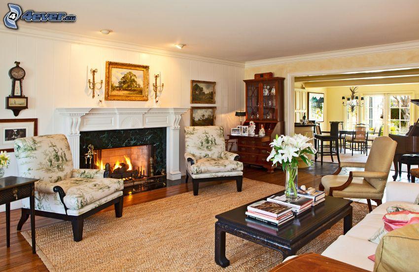 luxusná obývačka, kozub, kreslá