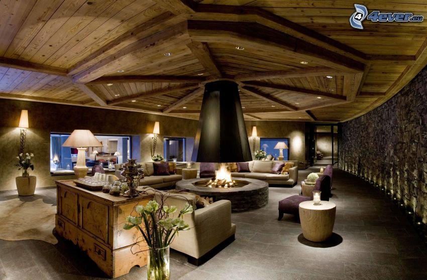 luxusná obývačka, kozub