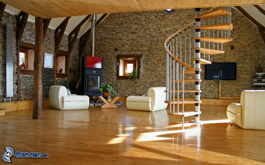 luxusná obývačka, krb, točené schody