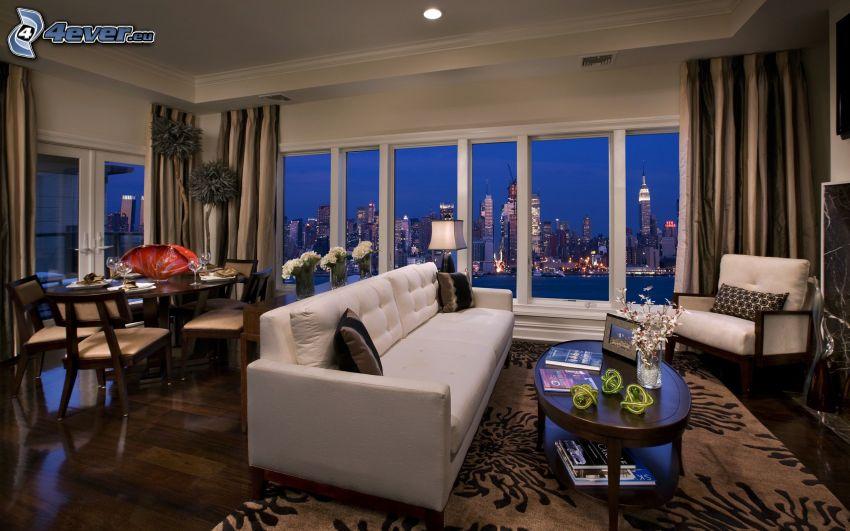luxusná obývačka, výhľad na mesto