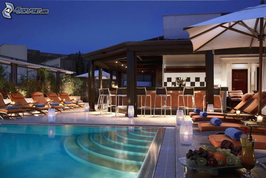 luxusný dom, bazén, lehátka