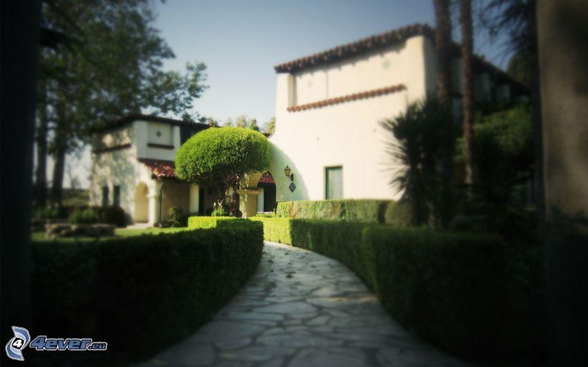luxusný dom, chodník