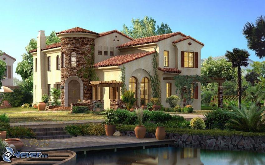 luxusný dom, jazierko