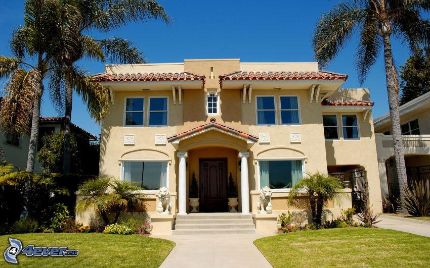 luxusný dom, palmy
