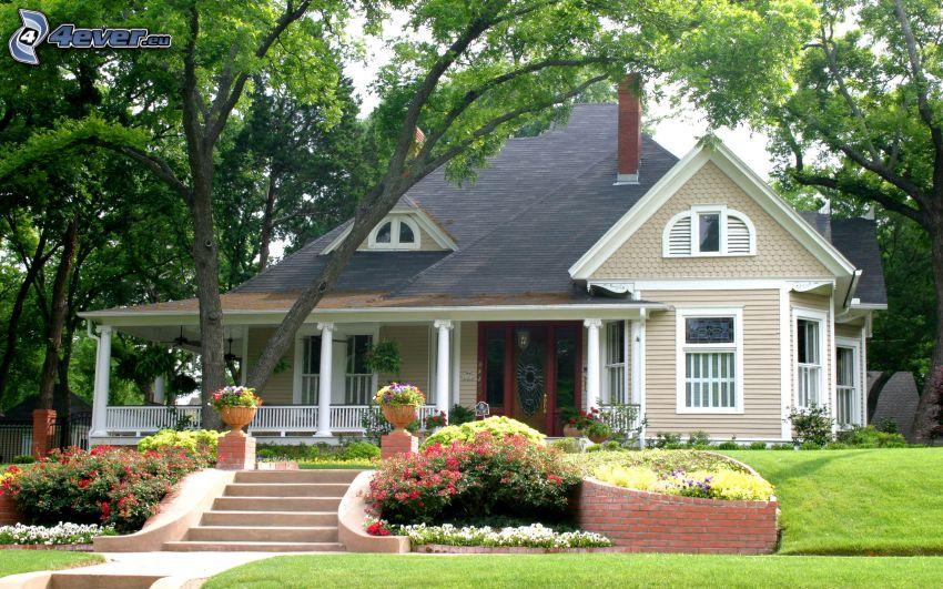 luxusný dom, stromy