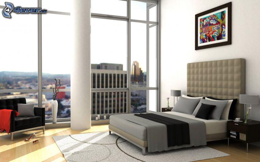 manželská posteľ, spálňa, kreslo, výhľad, obraz