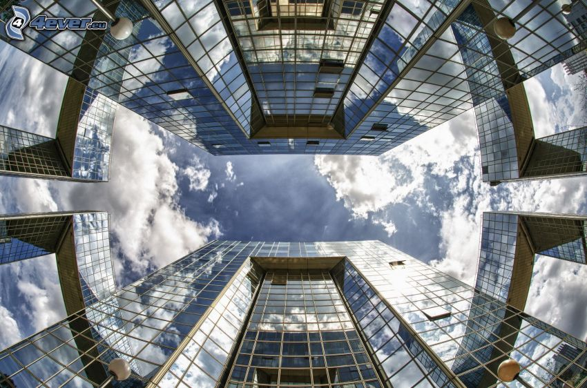 mrakodrapy, oblaky, sklo