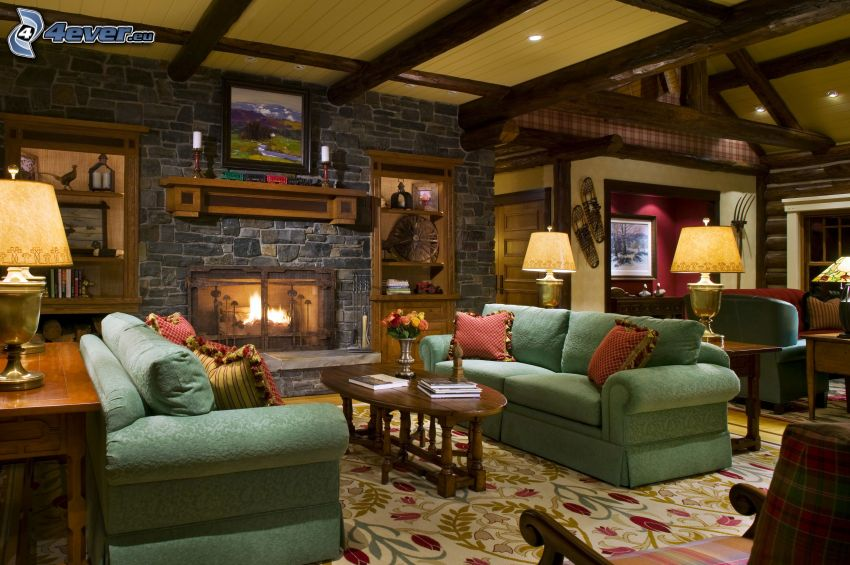 obývačka, gauč, kozub