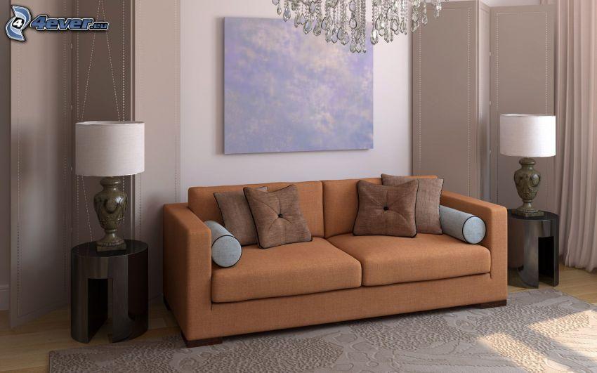 obývačka, gauč, obraz