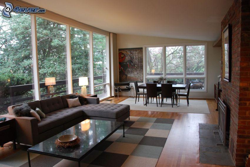 obývačka, jedáleň, výhľad