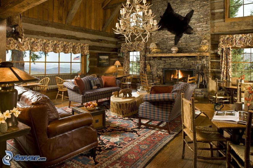 obývačka, kozub, HDR