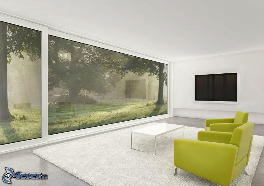 obývačka, kreslá, okno, výhľad