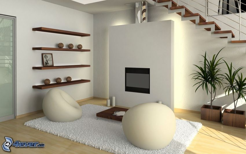 obývačka, schody, kreslá