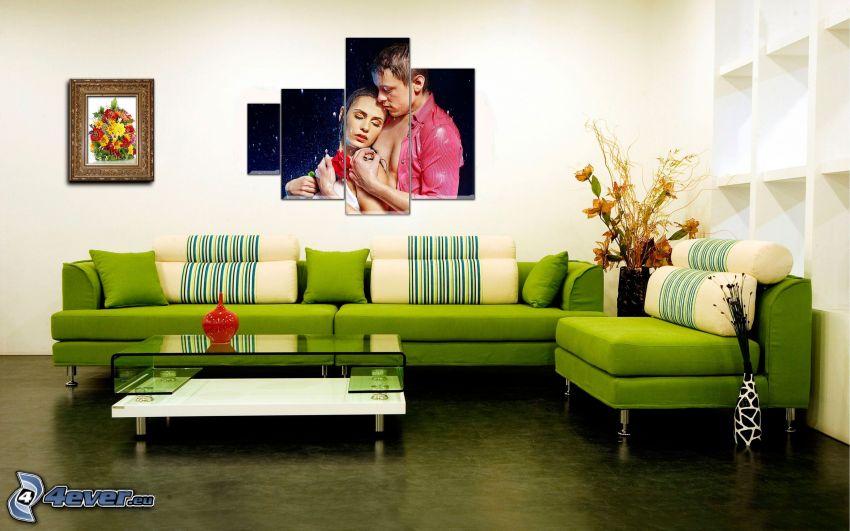 obývačka, sedačka, obrazy, párik