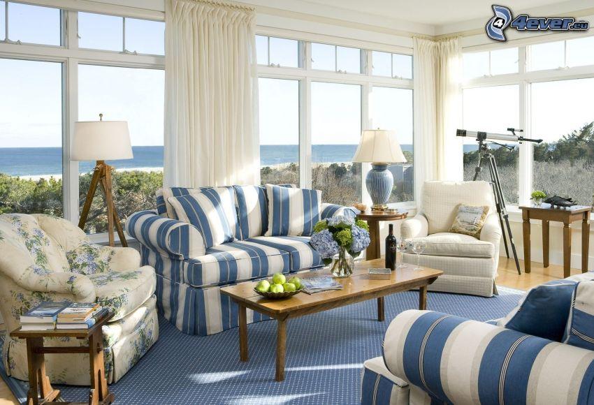 obývačka, výhľad na more, teleskop