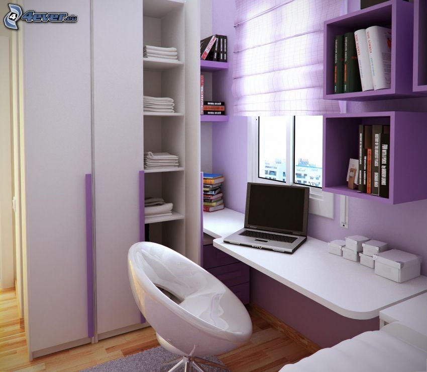 pracovňa, notebook, fialová