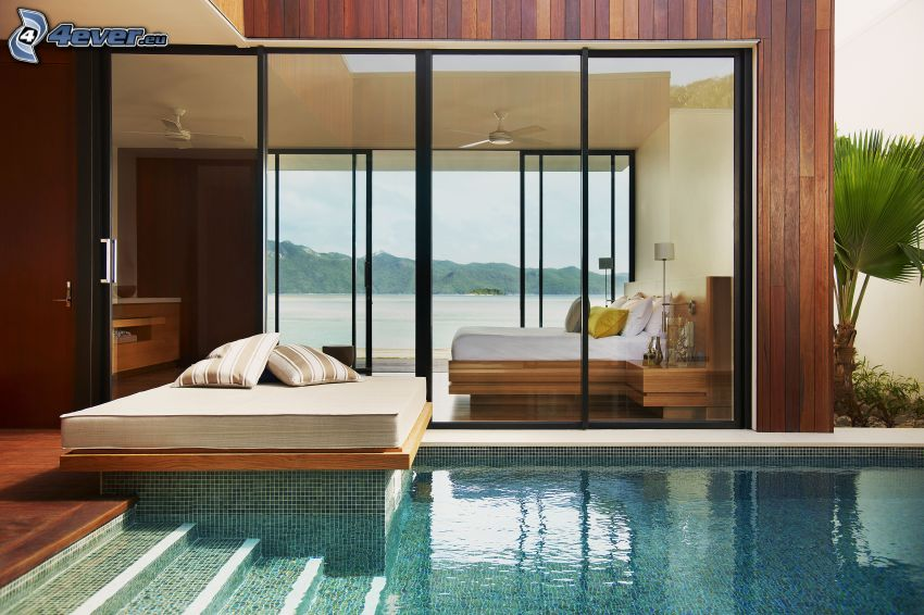 spálňa, manželská posteľ, bazén