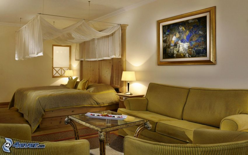 spálňa, manželská posteľ, gauč, obraz, baldachýn