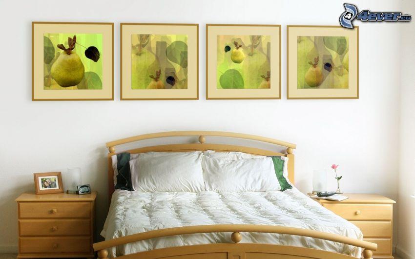 spálňa, manželská posteľ, obrazy