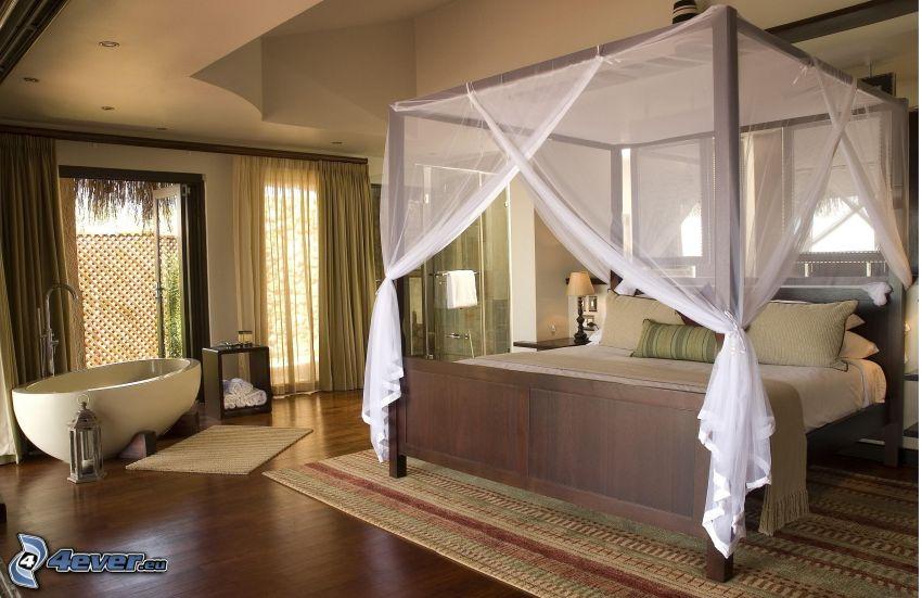 spálňa, manželská posteľ, vaňa