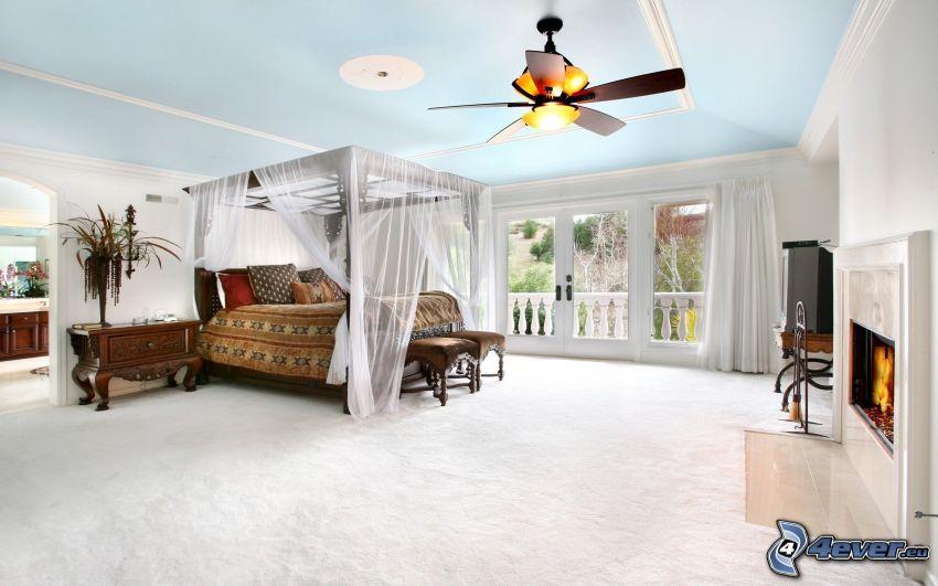 spálňa, manželská posteľ, ventilátor, krb