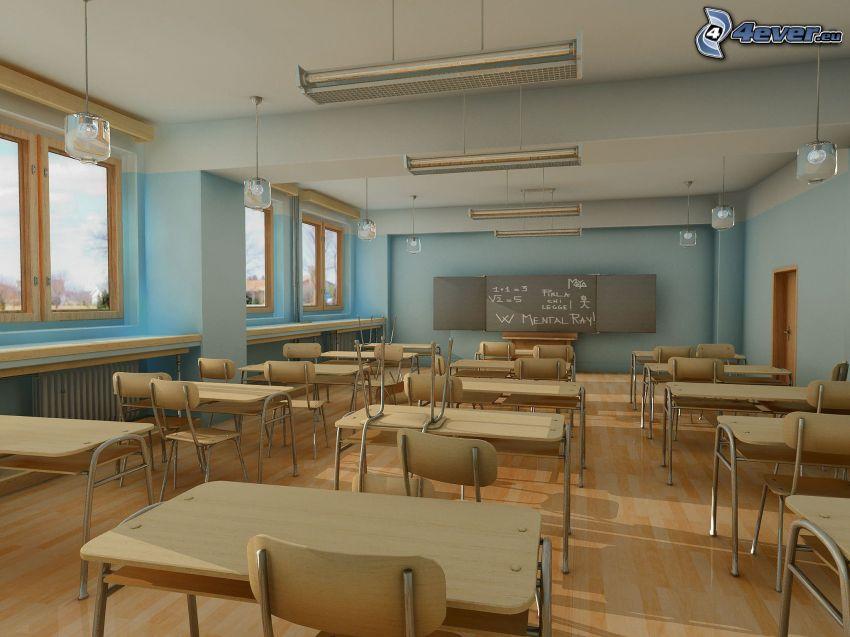 trieda, škola, tabuľa