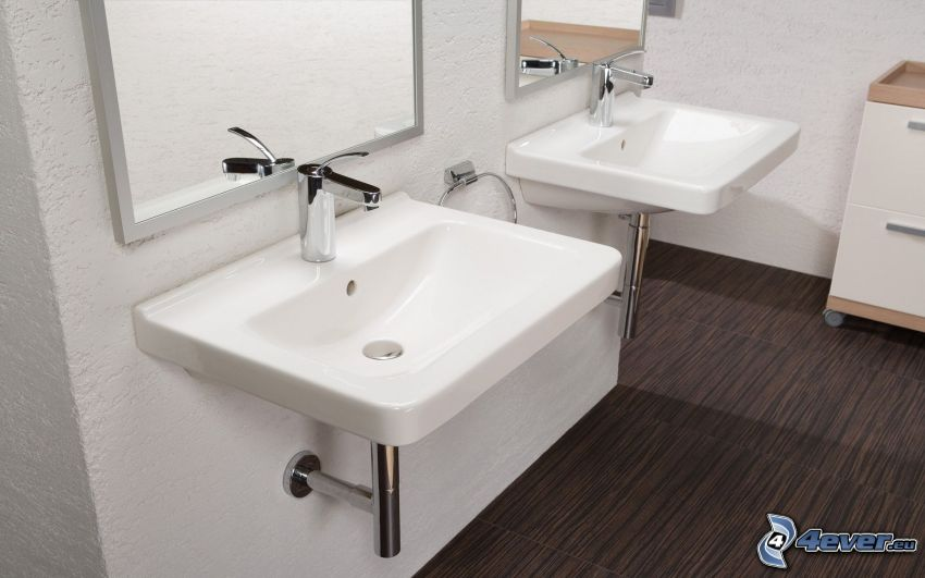 umývadlá, kúpeľňa, zrkadlá
