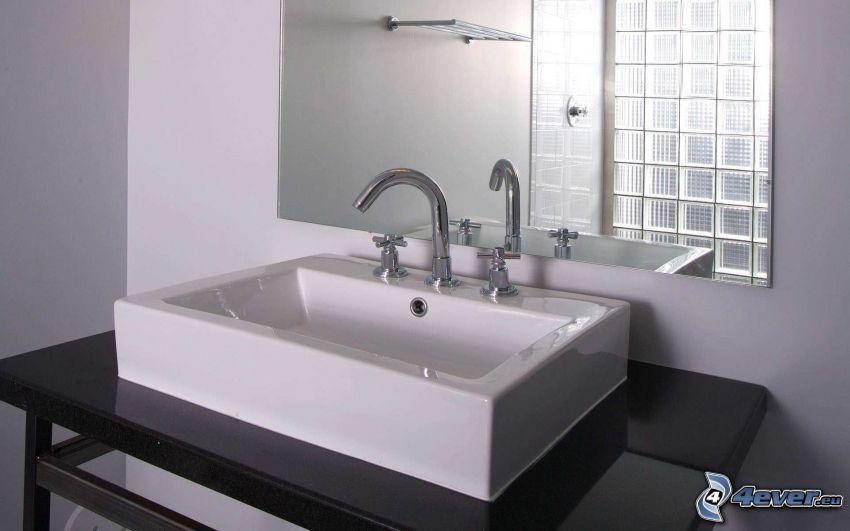 umývadlo, zrkadlo, kúpeľňa