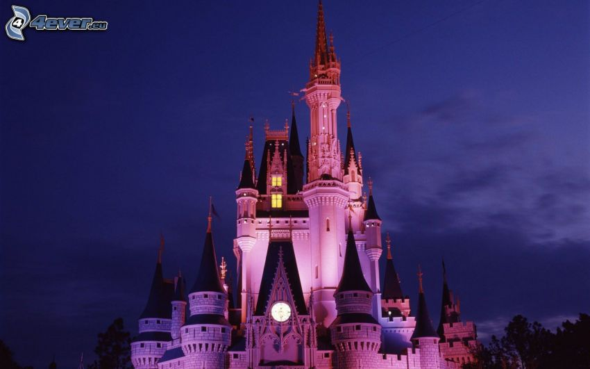 zámok, Disneyland, Florida, USA, večer