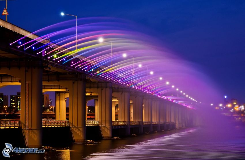 Banpo Bridge, fontána, farby