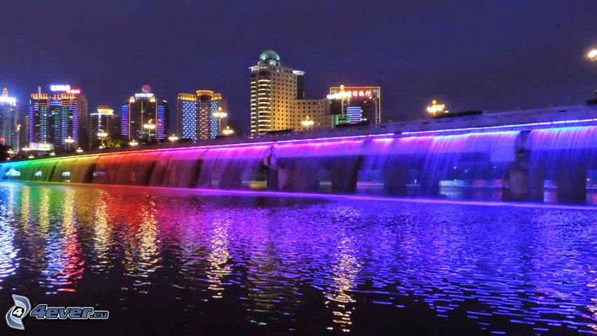 Banpo Bridge, nočné mesto, farby