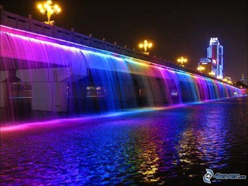 Banpo Bridge, osvetlený most, farby