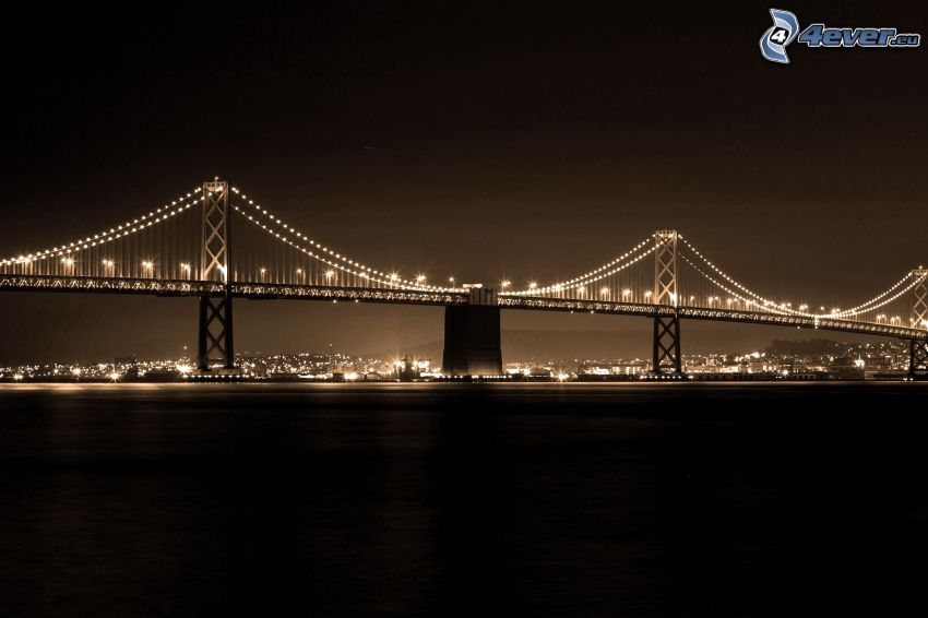 Bay Bridge, osvetlený most, San Francisco, noc