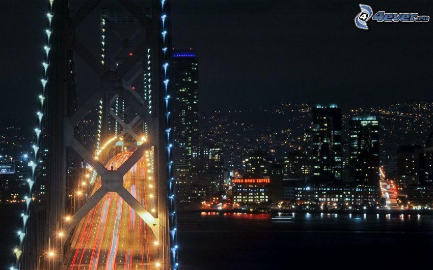 Bay Bridge, osvetlený most, San Francisco, nočné mesto