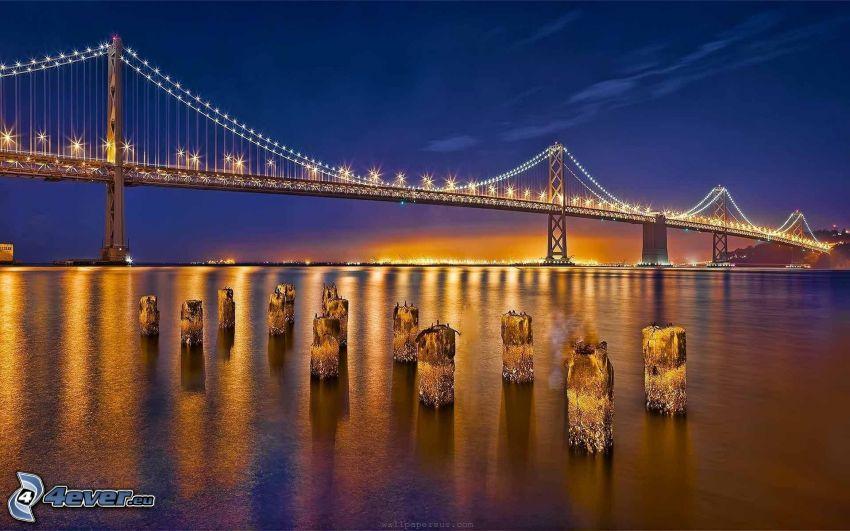 Bay Bridge, osvetlený most, San Francisco