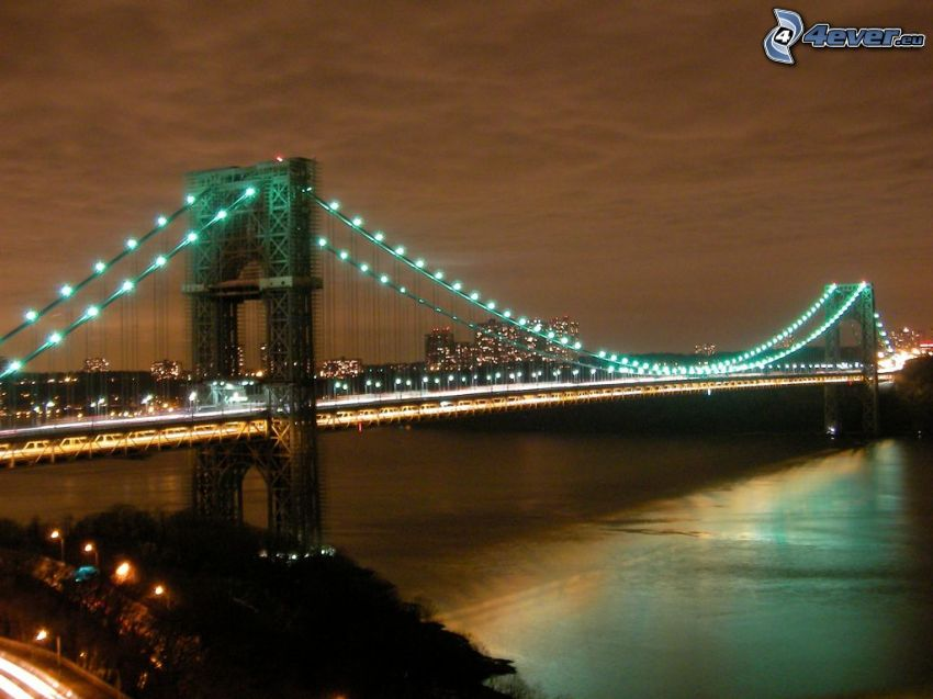 George Washington Bridge, osvetlený most, nočné mesto