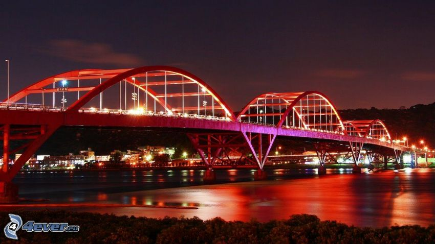 Guandu Bridge, osvetlený most, noc