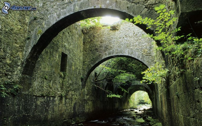 kamenné múry, potok