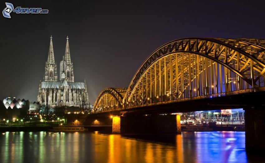 Kolínsky dóm, Kolín nad Rýnom, most, kostol, noc, rieka