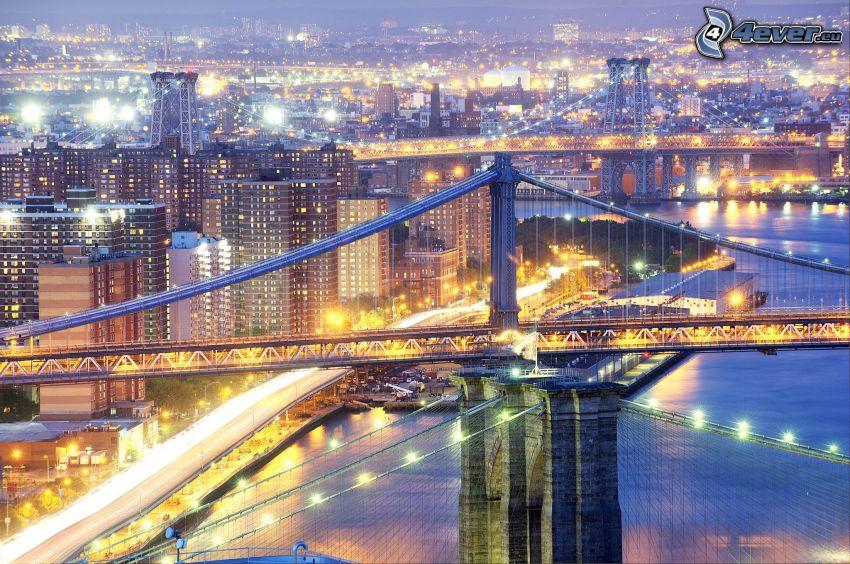Manhattan Bridge, New York, osvetlený most, večerné mesto, HDR