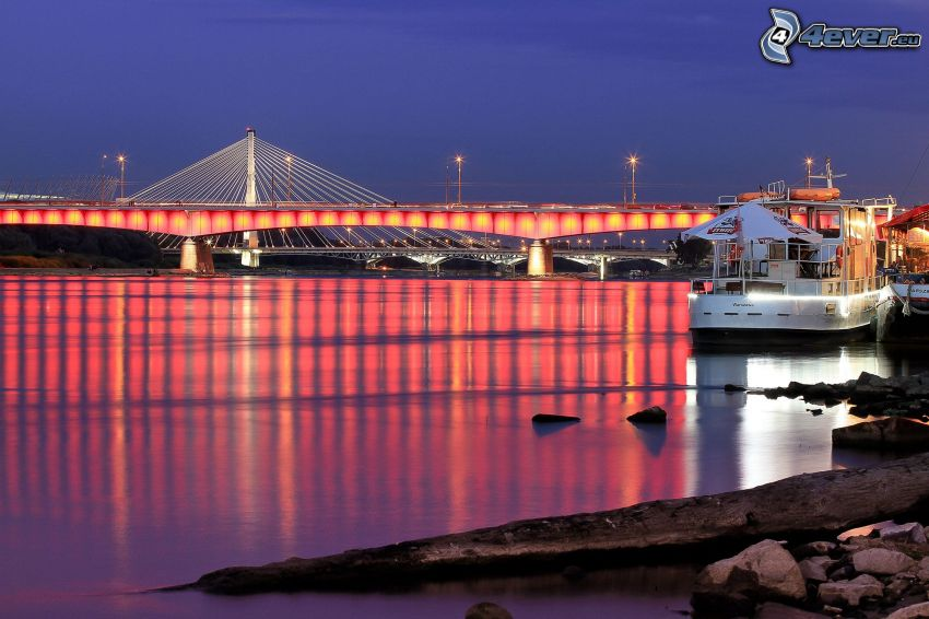 most, osvetlenie, noc, loď, rieka