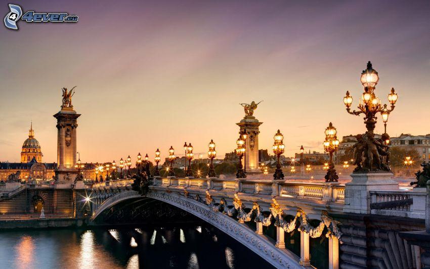 most, Paríž, Francúzsko, večer, osvetlenie, HDR