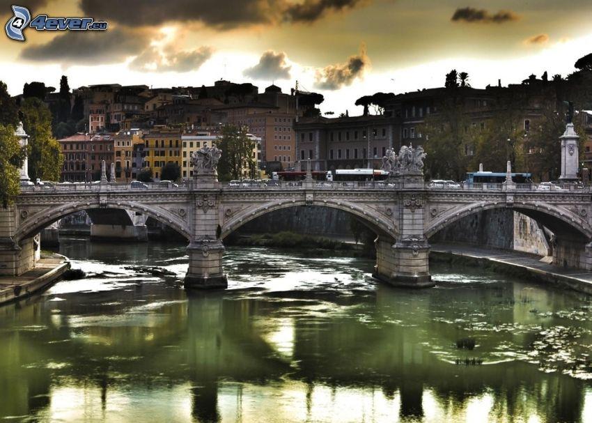 peší most, rieka, domy, večer